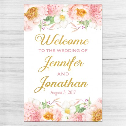Wedding Welcome Sign Pink and Gold