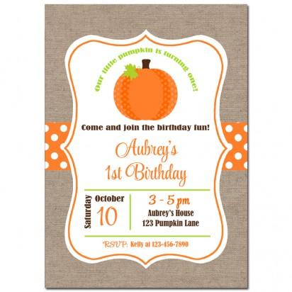 Little Pumpkin Burlap Invitation (without party flags)
