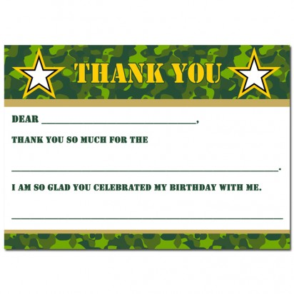 Camouflage  Military Thank You Note