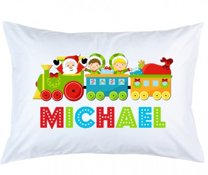 Personalized Christmas Train Pillow Case