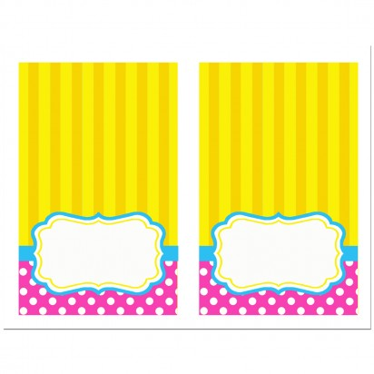 Circus Carnival Birthday Tent Style Food and Drink Labels - Girl's Carnival Fun Collection