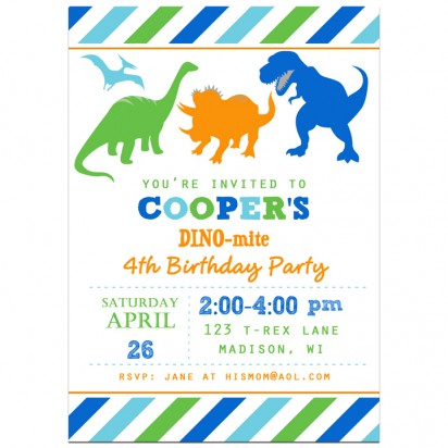 Dinosaur Invitation - Striped Dino Collection