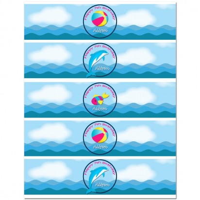 Dolphin Water Bottle Labels