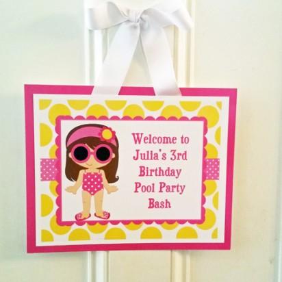 Girl's Pool Party Door Sign