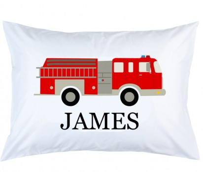 Personalized Firetruck Pillow Case