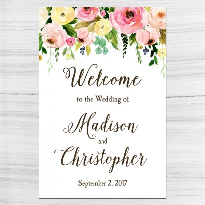 Floral Bouquet Wedding Welcome Sign