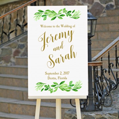 Greenery and Gold Wedding Welcome Sign