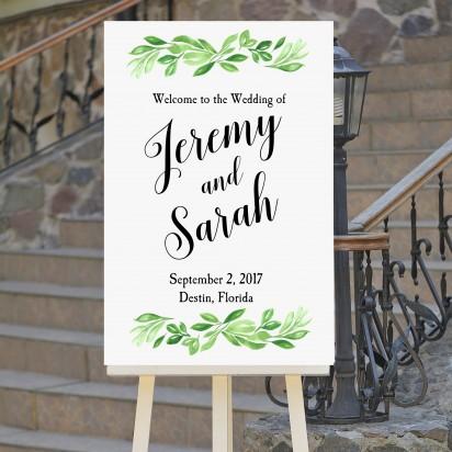 Wedding Welcome Sign Greenery
