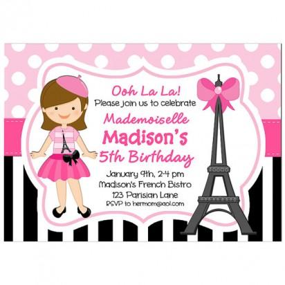 Parisian Mademoiselle Party Invitation