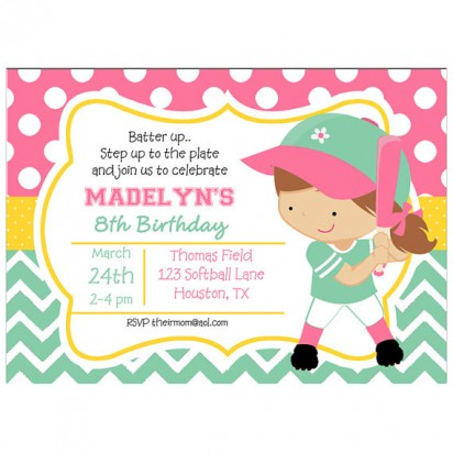 Girl's Softball Invitation