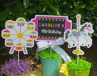 Aumsement Park Ticket Birthday Party Personalized Centerpiece Toppers - Amusement Park Chalkboard Collection