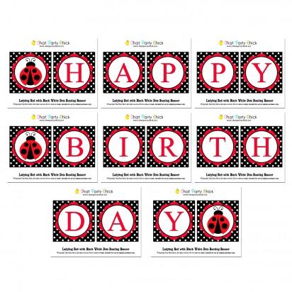 "Ladybug ""Happy Birthday"" Banner"
