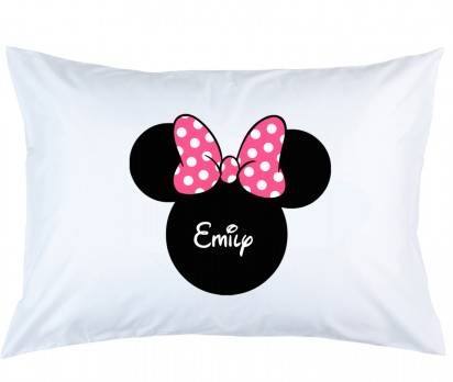 Personalized Minnie Mouse with Pink Bow Pillow Case