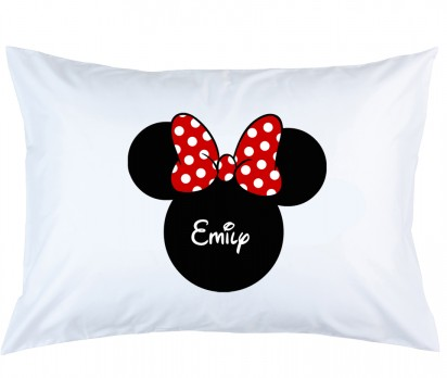 Personalized Minnie Mouse with Red Bow Pillow Case