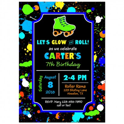Boy's Neon Roller Skate Party Invitation