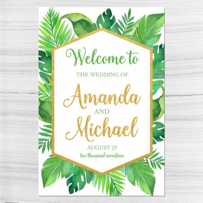 Wedding Welcome Sign Palm Leaves Tropical