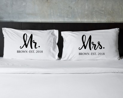 Personalized Mr. and Mrs. Name Pillow Case