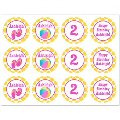 Girl's Pool Party Cupcake Toppers