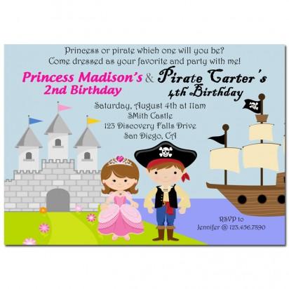 Pirate and Princess Sibling Birthday Party Invitation
