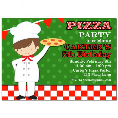 Boy's Pizza Party Invitation