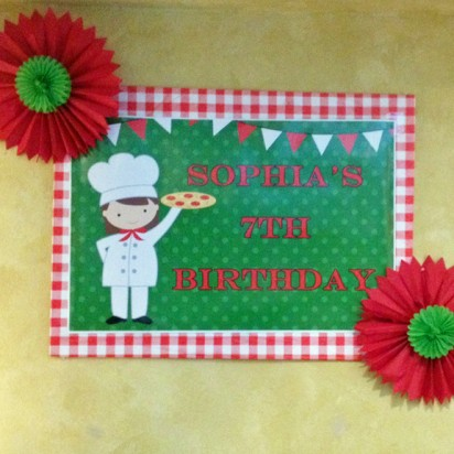 Pizza Party Birthday Poster or Backdrop