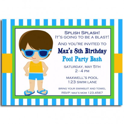 Boy's Pool Party Invitation - Pool Boy Swim Collection