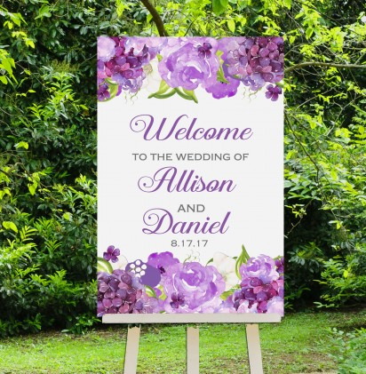 Wedding Welcome Sign Purple Floral