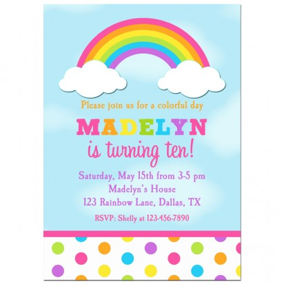 Pink Rainbow Dots Invitation - Rainbow Dot Collection
