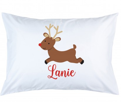 Personalized Reindeer Pillow Case
