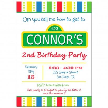 Sesame Street Inspired Birthday Party Invitation