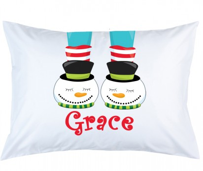 Personalized Frosty Snowman Slippers Pillow Case