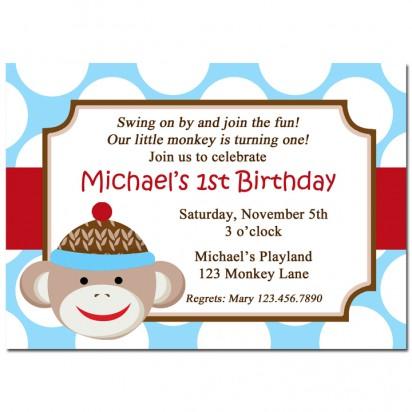 Boy Sock Monkey Invitation
