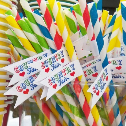 Country Fair Party Straw Flags - Country at Heart Collection