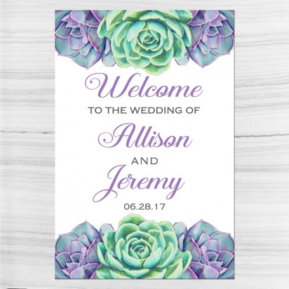 Succulent Wedding Welcome Sign