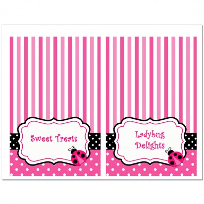Pink Ladybug Party Tent Style Food and Drink Labels - Pink Ladybug Collection
