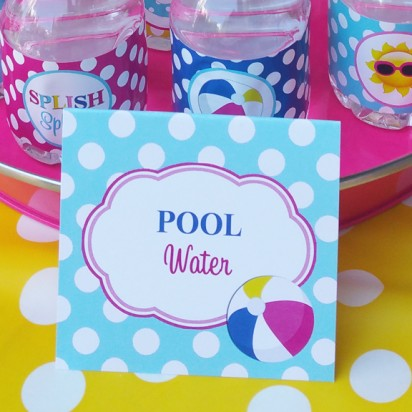 Splash Pool Party Party Tent Style Food Labels  - Splish Splash