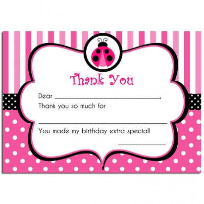Pink Ladybug Party Thank You Notes