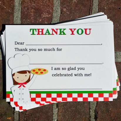 Pizza Birthday Party Thank You Notes
