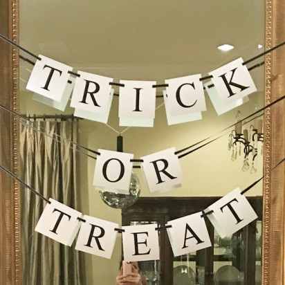"""""""Trick or Treat"""" Banner - Black and White"""