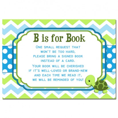"""Turtle Baby Shower Book Inserts 3.5x5"""" Cards - One Special Turtle"""