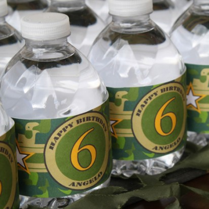 Camouflage Military Water Bottle Labels