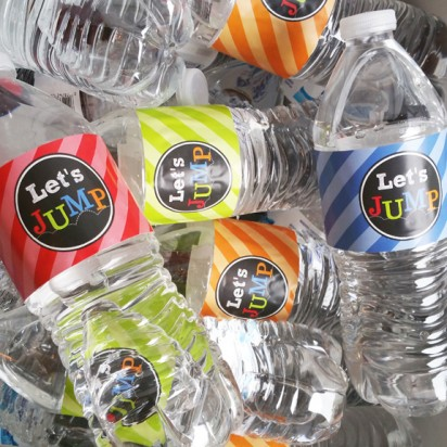 Jump Trampoline Party Water Bottle Labels - Jump Bold Collection