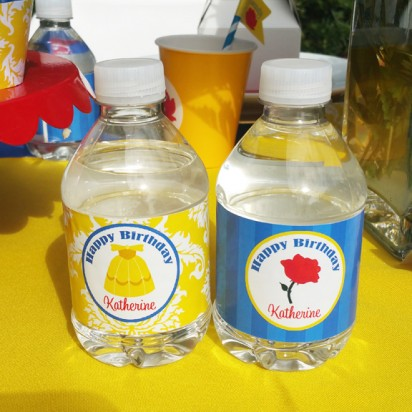 Beauty and the Beast Inspired Princess Party Water Bottle Labels