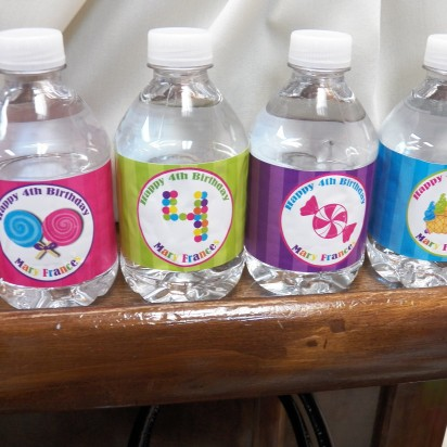 Ice Cream Candy Party Water Bottle Labels
