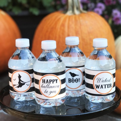 Halloween Water Bottle Labels - Black and White