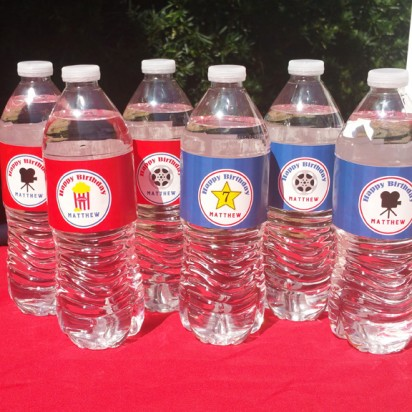 Movie Birthday Party Personalized Water Labels