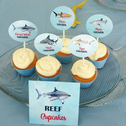 Shark Party Cupcake Toppers