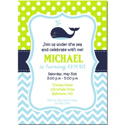 Green and Navy Whale Invitation