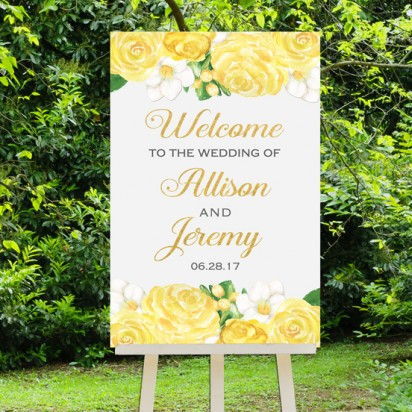 Wedding Welcome Sign Yellow Roses
