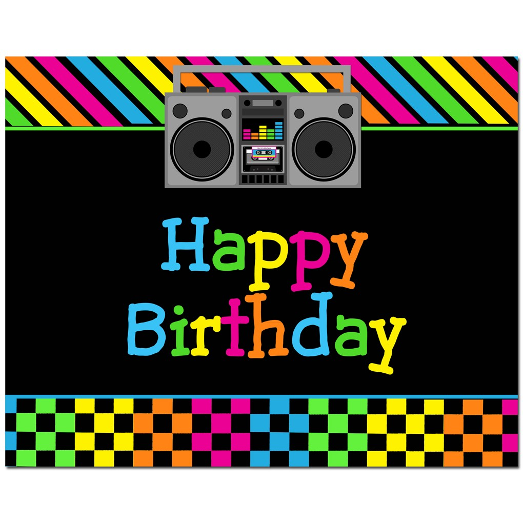 happy birthday 80 s party 8x10 sign by that party chick totally
